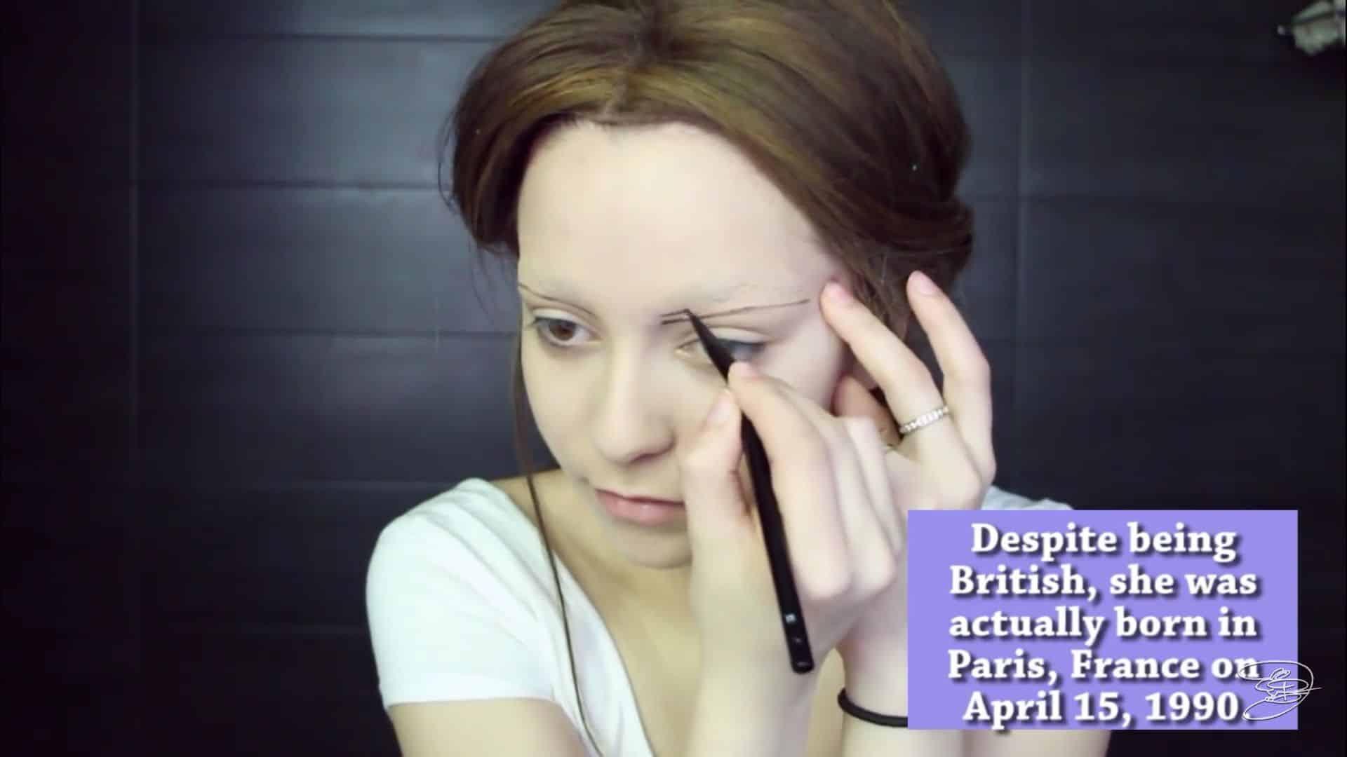 Maquíllate como la princesa la Bella de Emma Watson Jbunzie 2020, deliniar cejas, dibujar cejas.