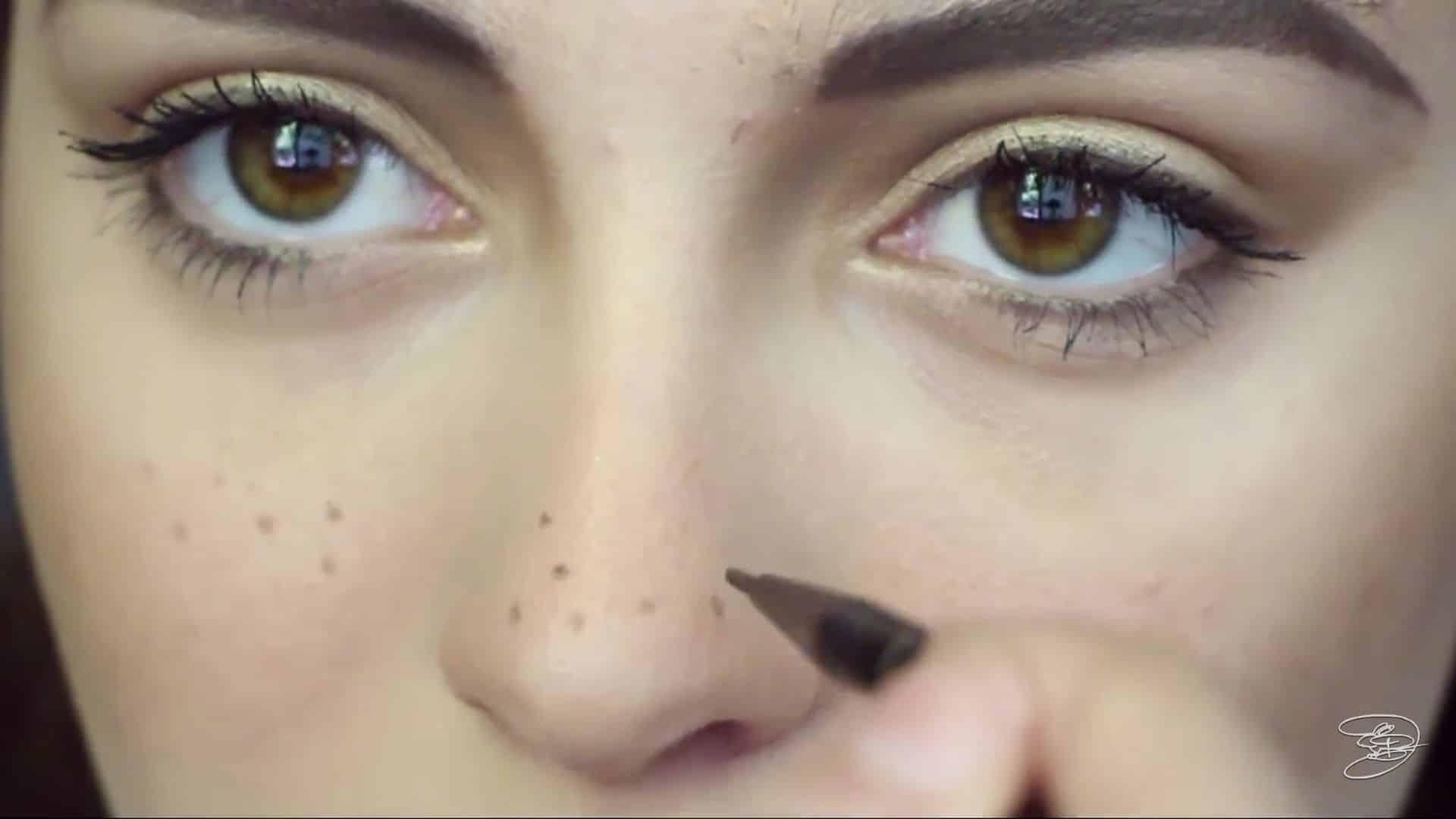 Maquíllate como la princesa la Bella de Emma Watson Jbunzie 2020, dibujo de pecas.