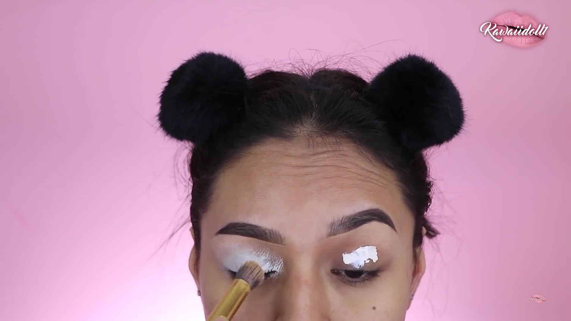 maquillaje de fantasía rapunzel 2020 kawaiidoll1 difuminado del corrector.