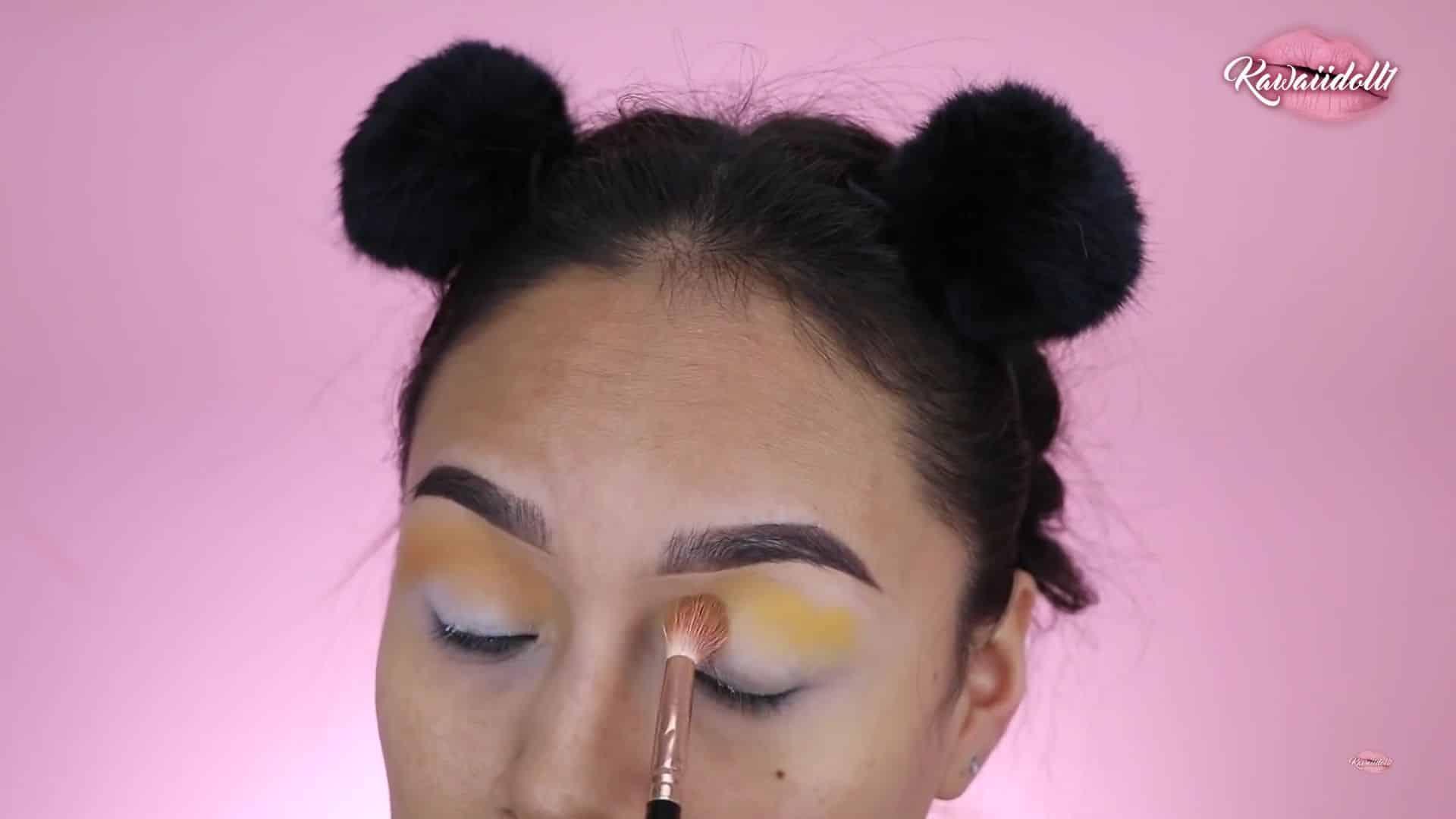 Maquillaje de fantasía Rapunzel 2020 kawaiidoll1, sombra mostaza, sombra amarilla, paleta fantasy, duo color.