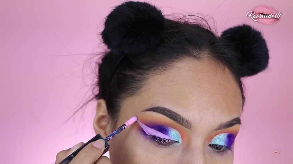 maquillaje de fantasía rapunzel 2020 kawaiidoll1 delineado rosa claro.