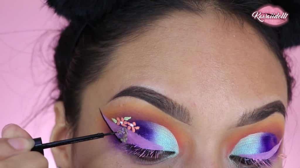 maquillaje de fantasía rapunzel 2020 kawaiidoll1 delineador negro.
