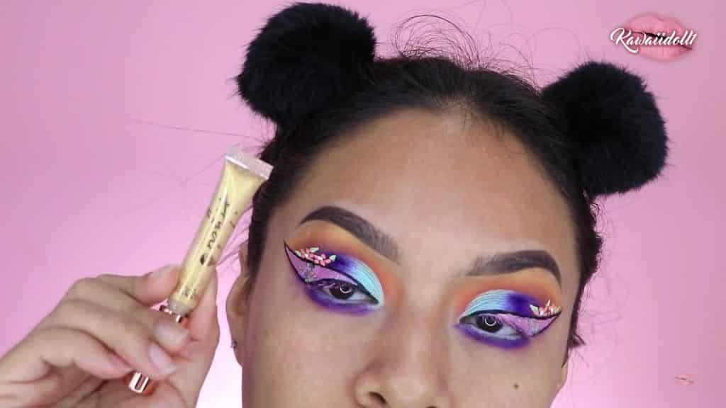 maquillaje de fantasía rapunzel 2020 kawaiidoll1 sombra líquida dorada