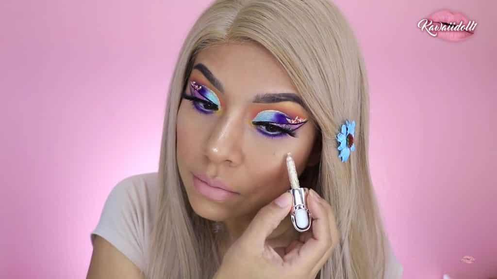 maquillaje de fantasía rapunzel 2020 kawaiidoll1 sombra amarilla en el lagrimal