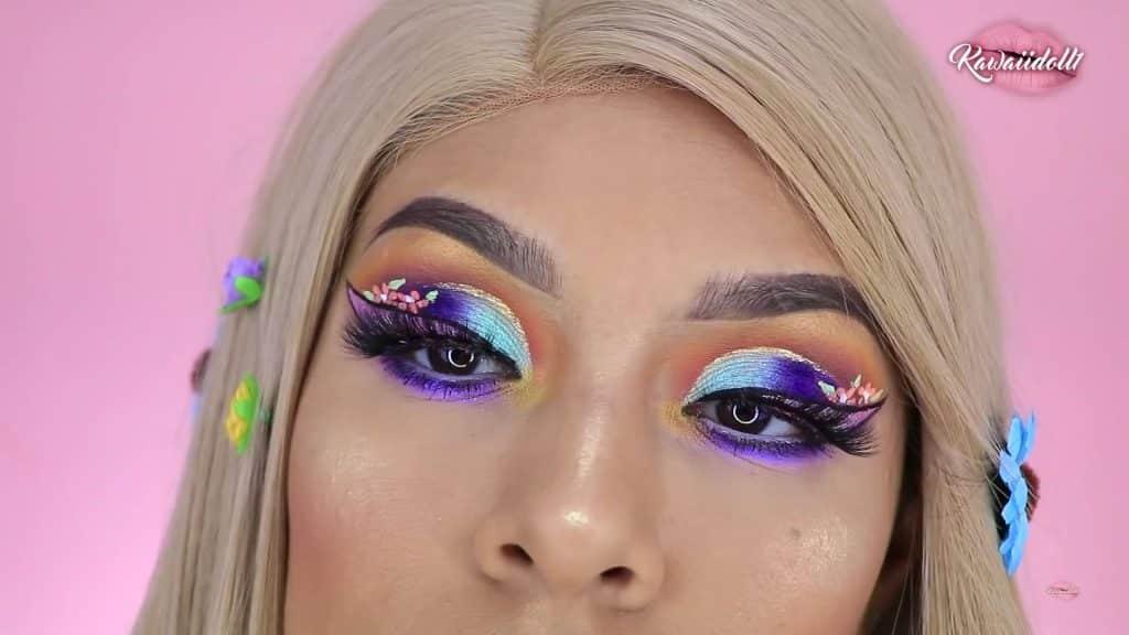 maquillaje de fantasía rapunzel 2020 kawaiidoll1 resultado final look terminado.