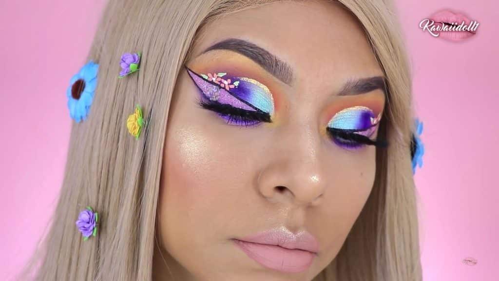 maquillaje de fantasía rapunzel 2020 kawaiidoll1 resultado final primer plano.