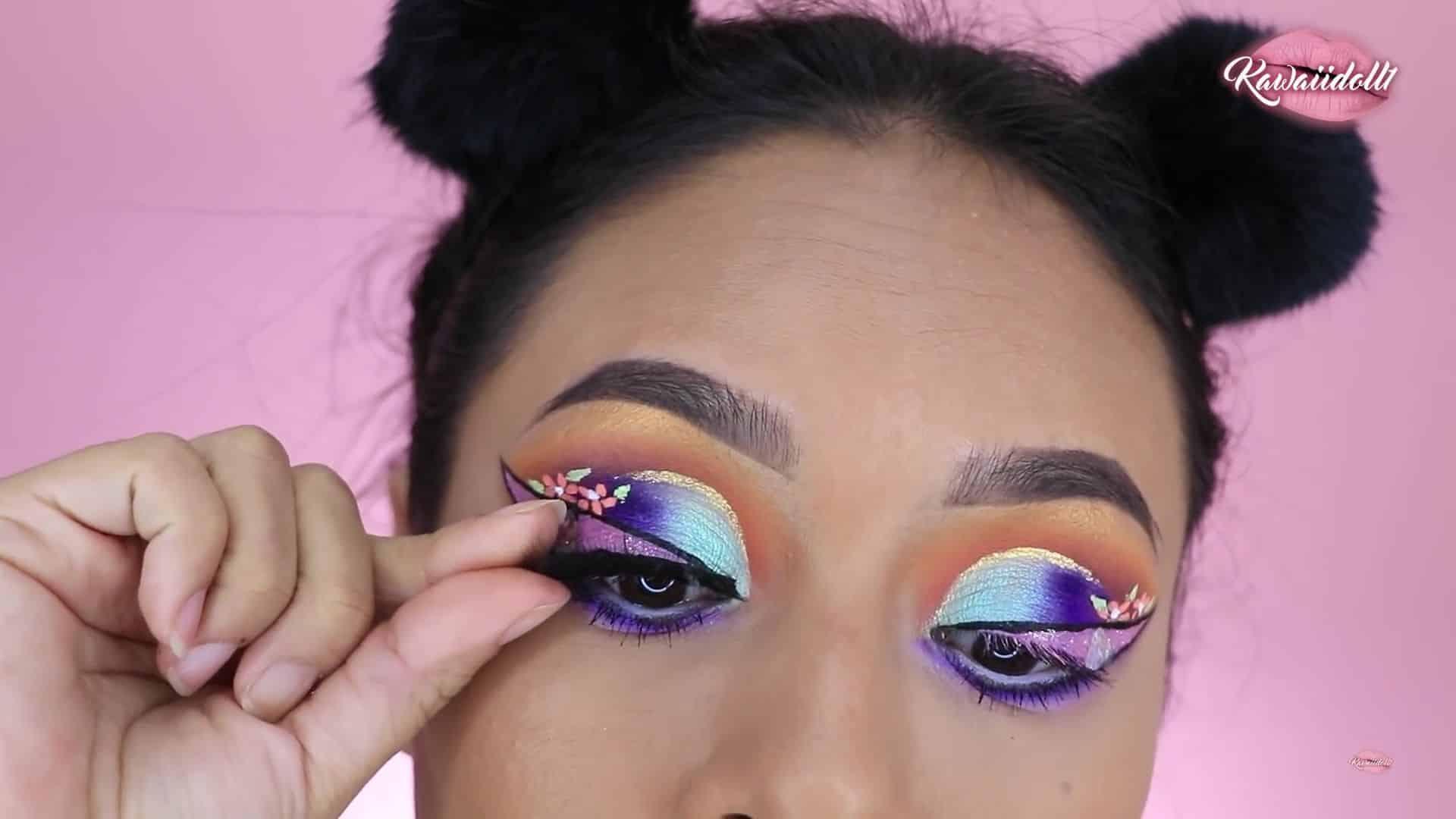 maquillaje de fantasía rapunzel 2020 kawaiidoll1 pestañas postizas. colocar pestañas postizas.