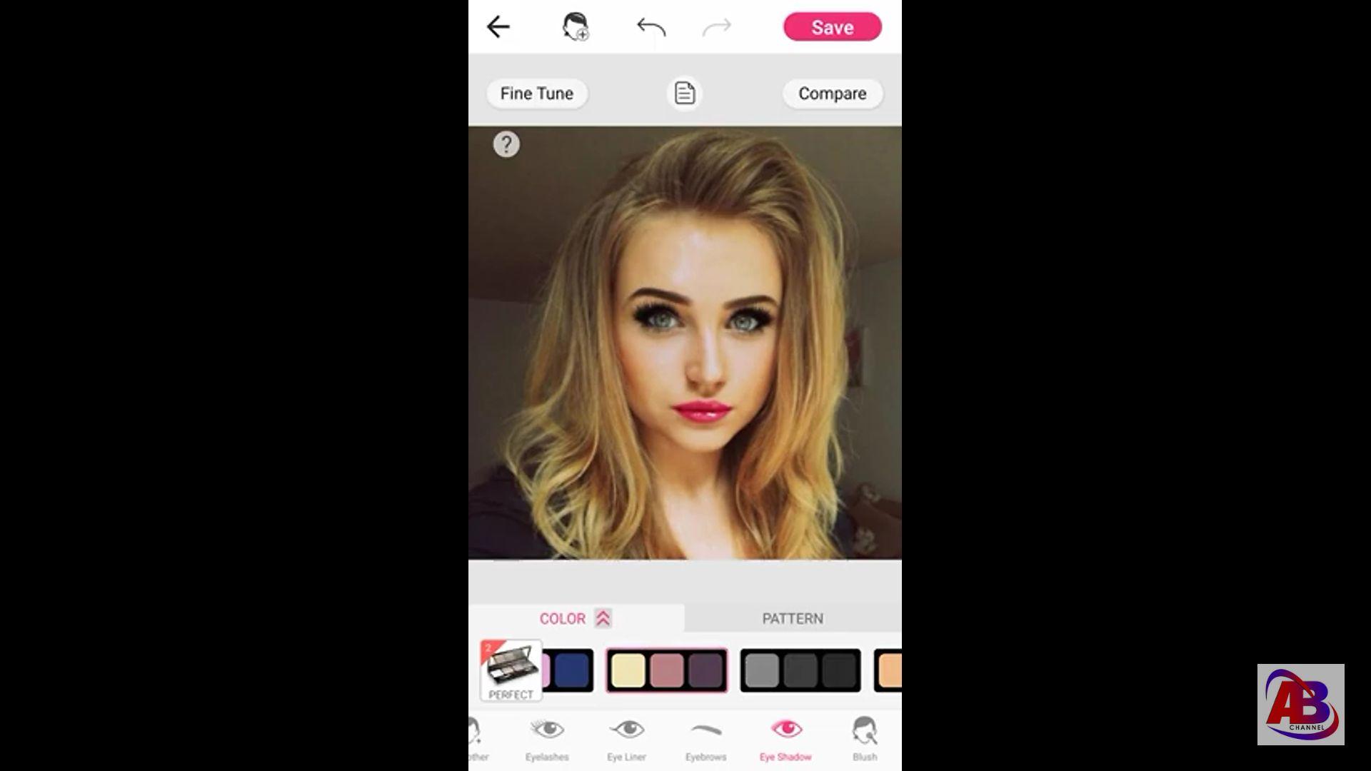 YouCam Makeup maquillaje  para una selfie de portada AB Channel  2020, herramienta de color de ojos.