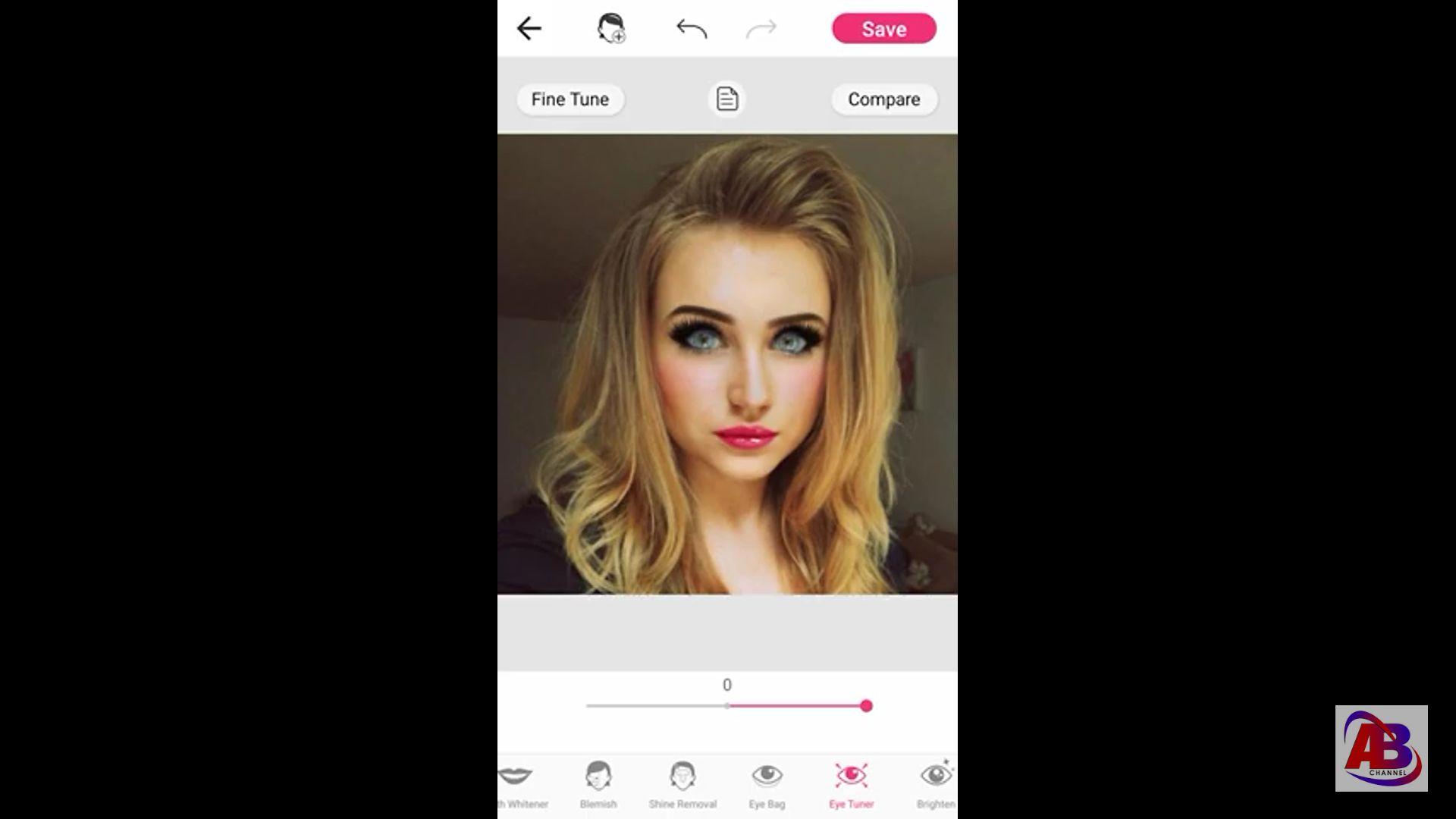 YouCam Makeup maquillaje  para una selfie de portada AB Channel  2020, Herramienta de tamaño de ojos.