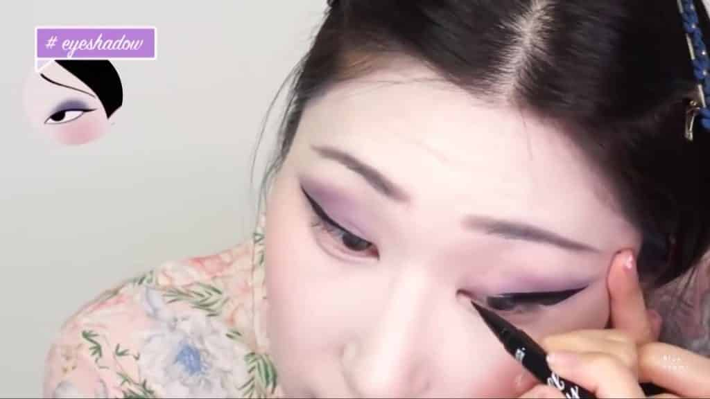Maquíllate como la hermosa  Mulan  Liang �량� 파란방2020, delineado negro