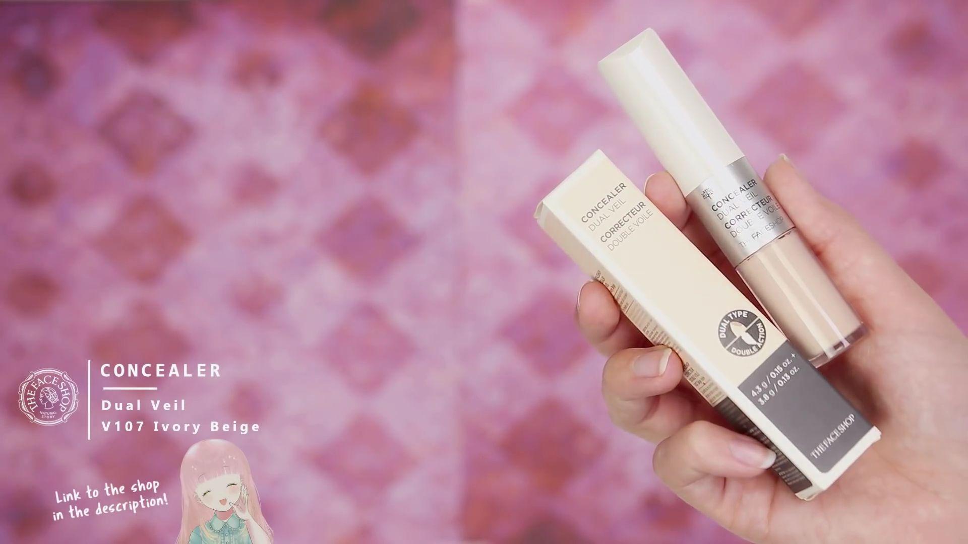 Misa Amane Cosplay DIY en 9 pasos: Concealer del color Dual Veil V107 Ivory Beige de la marca THE FACESHOP.