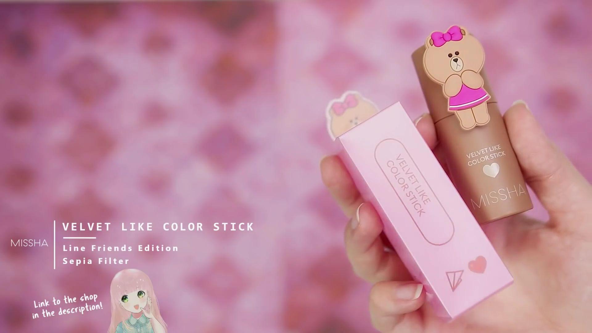 Misa Amane Cosplay DIY en 9 pasos: Velvet Like Color Stick line Friends edition de color sepia filter de la marca Missha.