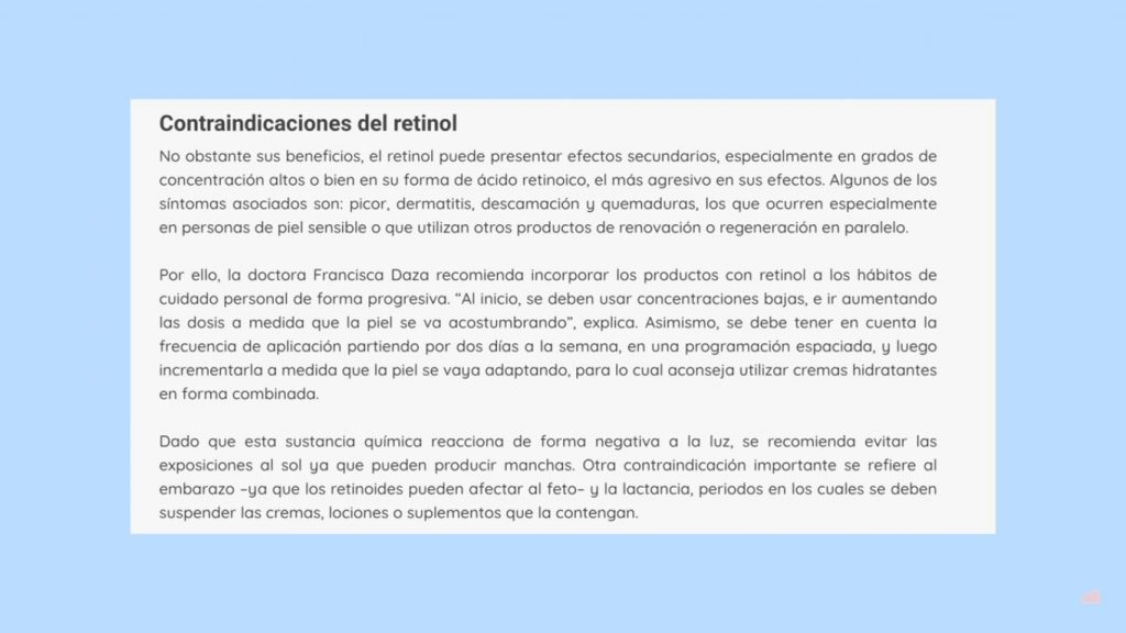 Contraindicaciones del retinol