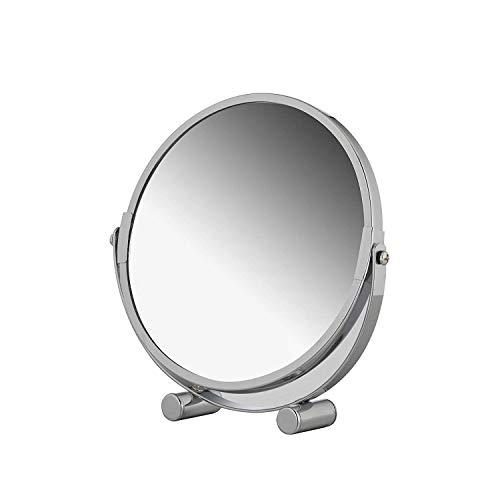 axentia – Espejo cosmético, Espejo de aumento 3x para maquillaje, afeitado, depilación, cuidado y limpieza facial, Espejo de doble cara - ajustable, rotativo de 360° - diámetro de espejo 17 cm