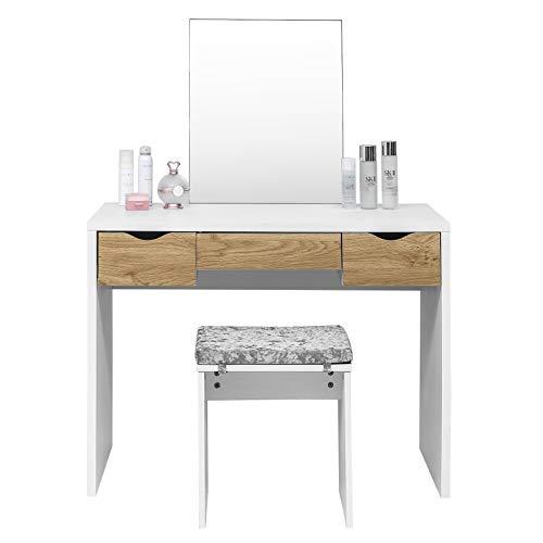 Laneetal Juego de Tocador de Maquillaje y Taburete Mesa de Maquillaje con 3 Cajones y Espejo 100x50x129.5cm Blanco/Roble 0590002