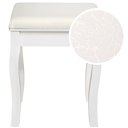 TecTake Taburete de tocador Piano Silla de Estilo de vanidad Maquillaje Dormitorio | Aprox. 40x30x45cm | Blanc