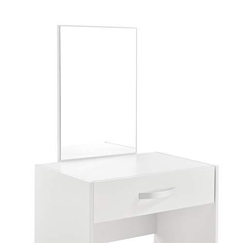Juego de Tocador Mesa de Maquillaje con Espejo y Taburete 132 x 63 x 39 cm Mesa cosmética con Cajón Silla Peine Blanco