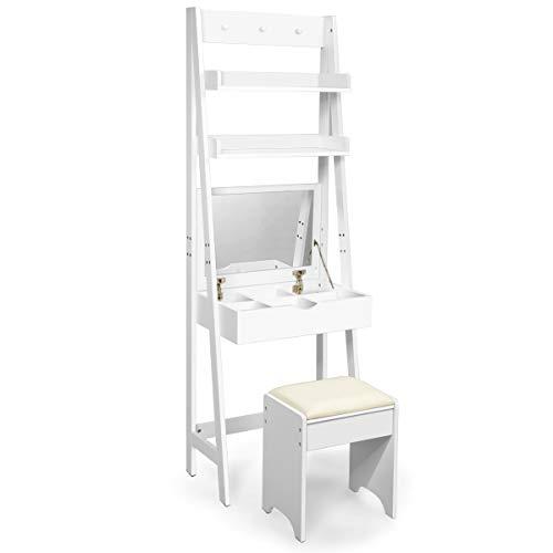 COSTWAY Tocador con Espejo Plegable Taburete y Estantes Mesa de Maquillaje Escritorio para Habitación Dormitorio Blanco