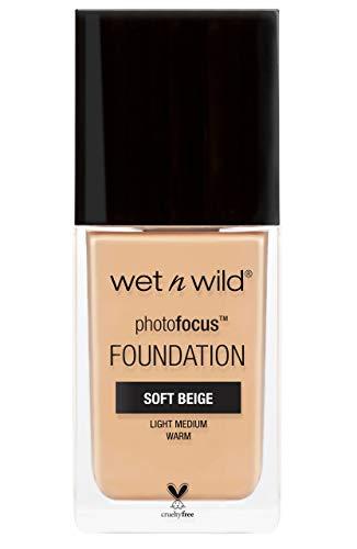 Wet n Wild - Photo Focus Foundation MATTE - Base con Fórmula Avanzada - Piel y Maquillaje Siempre Impecables para la Cámara y Sin Brillos Blancos, Fórmula Matificante - Vegano - Soft Beige - 1 Unidad