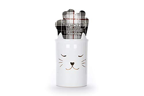 Tri-Coastal Design - Porta brochas de maquillaje de cerámica - Taza de porcelana Organizador de almacenamiento de cosméticos para pinceles de belleza y accesorios (Pets)