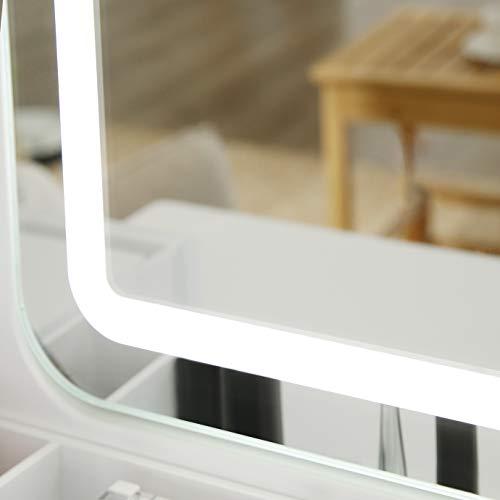 VASAGLE Tocador con Espejo con Luces de 3 Colores, Mesa de Maquillaje, con 5 Cajones y 1 Organizador de Almacenamiento Extraíble, Patas de Madera Maciza, con Taburete, Blanco RDT25WL