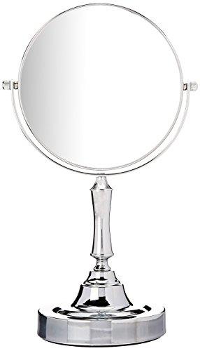 Espejo de tocador sagler cromo (mesa doble cara espejo de maquillaje, con un aumento de 10x giratorio–Altura, acabado cromado