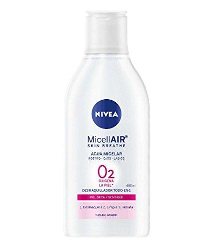 NIVEA MicellAIR Skin Breathe Agua Micelar Piel Seca/Sensible (1 x 400 ml), agua micelar desmaquillante, limpieza facial, desmaquillador de ojos, rostro y labios