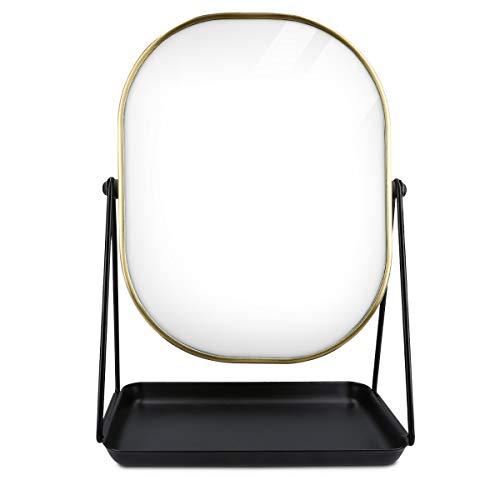 Navaris Espejo de Maquillaje para Mesa - Espejo para tocador baño - Accesorio Decorativo con Soporte y Base para Poner Joyas cosméticos - En Dorado