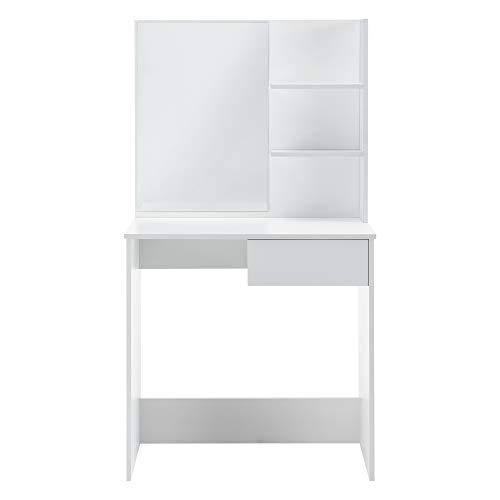 [en.casa] Tocador Mesa de Maquillaje con Espejo 141 x 75 x 40 cm Mesa cosmética con Cajón y 3 Estantes Blanco