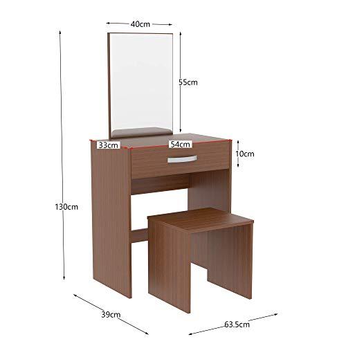Vida Designs Isla 1 cajón Espejo y Taburete Dormitorio Set Maquillaje vanidad cosméticos Almacenamiento Escritorio tocador Muebles Nogal, 130 x 63.5 x 39 Cm