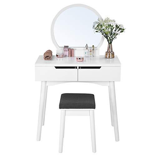 SONGMICS Tocador con Estilo Moderno, Mesa de Maquillaje, con 2 Cajones Grandes, con Corredera, Funda para Taburete Lavable, Blanco RDT11W