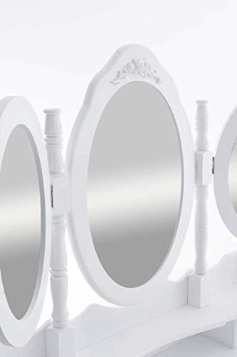 Tocador Pauline con 3 Espejos & Un Taburete I Tocador De Maquillaje con Espejos & Taburete I Mesa Tocador con 7 Cajones en Diseño Rústico I, Color:Blanco