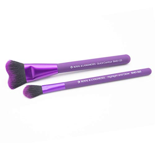 MODA Royal & Langnickel Perfect Pares Insta-Glow Kit de maquillaje incluye Brochas de contorno rápido y resaltado, color morado