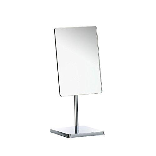 Axentia Espejo cosmético, Espejo de maquillaje Rectangular, Espejo de tocador para baño, Espejo afeitado con ángulo ajustable, Plateado, aprox. 21 x 22 x 9 cm