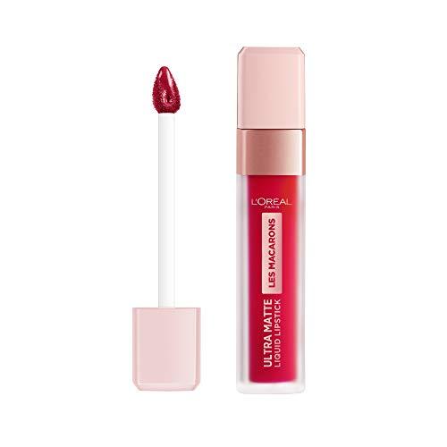 L'Oréal Paris - Les Macarons, Pintalabios Mate Permanente Rojo Aframbuesado, Tono 828 Framboise Frenzy - 30.5 gr.