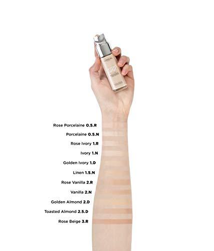 L'Oréal Paris Accord Parfait, Base de maquillaje acabado natural con ácido hialurónico, tono piel claro 2N, 30 ml