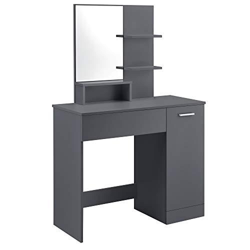 [en.casa] Tocador Mesa de Maquillaje con Espejo 138 x 90 x 38 cm Mesa cosmética Armario con Puerta con Cajón y 3 Estantes Gris Oscuro