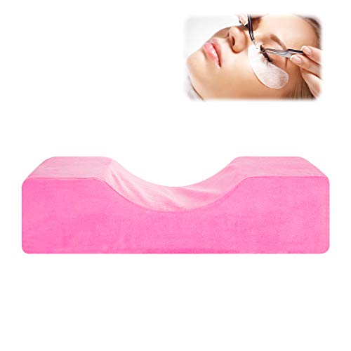 SunshineFace Almohada de extensión de pestañas, Almohada de Curva ergonómica en Forma de U, Injerto de Maquillaje Almohada de pestañas Curva de Soporte de Cuello para Salón Hogar (Rosa)