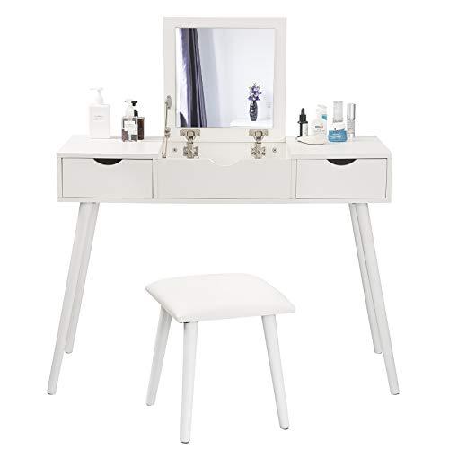 EUGAD Juego Mesa de Tocador con Taburete con Bisagras Tocador Moderno Escritorio para Computadora con Espejo Plegable Mesa de Maquillaje con 2 Cajones Madera 100x40x75cm Blanco 0014SZT