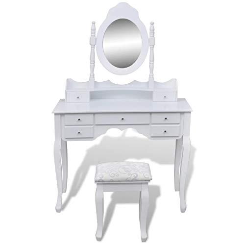 vidaXL Tocador con Espejo y Taburete 7 Cajones Blanco XXL Cómoda de Maquillaje