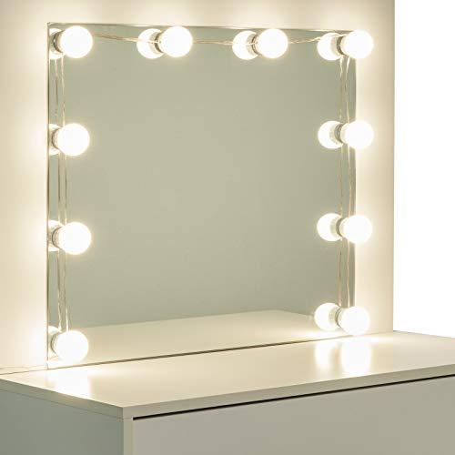 EUGAD Mesa de Tocador con Iluminación LED Tocador Moderno Cosmético con 12 Lámparas Escritorio con Espejo Mesa de Maquillaje 80x40x140cm Blanco 0019SZT