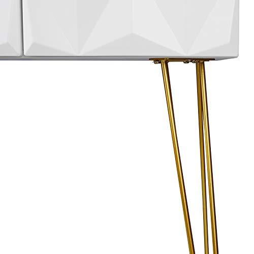 EUGAD Juego Mesa de Tocador con Taburete Acolchado de Terciopel y Espejo Giratorio 360 ° Tocador Moderno Escritorio con Espejo Mesa de Maquillaje con 3 Cajones Madera+Metal, Blanco+Oro 0016SZT