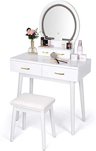 amzdeal Tocador con Espejo,Mesa de Tocador con Iluminación,Tocador de Maquillaje con Espejo de atenuación de Pantalla táctil, 3 Modos de iluminación de Color, 4 cajones,Blanco
