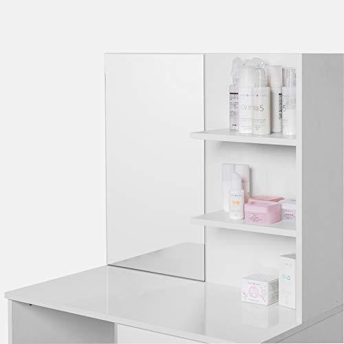 WOLTU Tocadores con Taburete y Espejo Mesa de Maquillaje de Alto Brillo con Dos Estantes 75x40x138cm Blanco MB6045ws