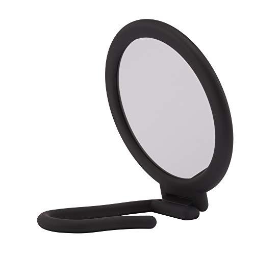 PARSA Beauty Espejo espejo ajustable espejo de mano con acabado suave al tacto negro redondo doble cara normal y aumento de 3 veces para maquillaje y peluquería