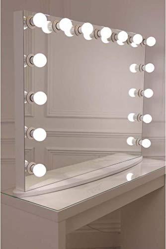 Bright Beauty Anastasia Hollywood - Espejo de 80 x 65 cm, sin marco, espejo de maquillaje, espejo de tocador, espejo para teatro con iluminación regulable, blanco