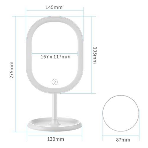 Aidodo Espejo Maquillaje con Luz LED Aumento 5X Espejo de Maquillaje,Táctil Ultra Alta Definición Profesional Espejo Cosmético Plegable Espejos Maquillaje de Escritorio - Rotación Ajustable de 360°