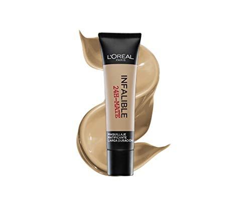 L'Oréal Paris 24H Mate, Base Maquillaje Matificante Larga Duración, Tono de Piel Medio 30 Miel - 35 ml