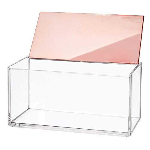 mDesign Caja de maquillaje grande con tapa – Organizador de cosméticos para baño y tocador – Cajas de plástico transparente para organizar maquillaje, pintalabios y más – transparente y dorado rojizo