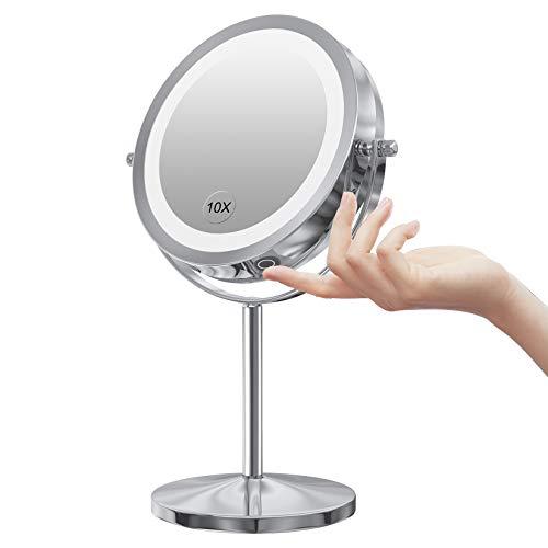 Benbilry - Espejo cosmético con iluminación LED, 7 Pulgadas, 1 Aumento, 10 aumentos, Espejo de Maquillaje, Espejo de Doble Cara, Giratorio 360 Grados
